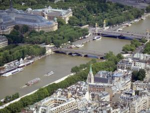 Eiffel tower - View of the Seine river and its surroundings from the top of Parisian monument