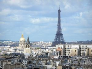 Eiffel tower - View of Paris and the Eiffel tower from the towers of the Notre-Dame cathedral