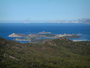 Embiez islands - Forest in foreground with view of the Embiez archipelago, the Mediterranean Sea, coast and hills