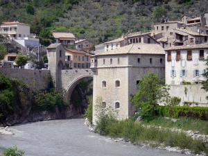Entrevaux - Var river, bridge, fortifications and houses of the medieval village