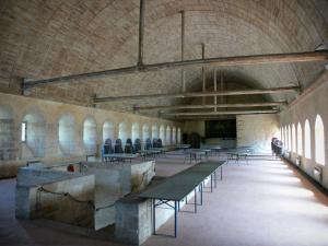 L'Épau abbey - Old Cistercian abbey of La Piété-Dieu, in Yvré-l'Évêque: dormitory and its wooden vault