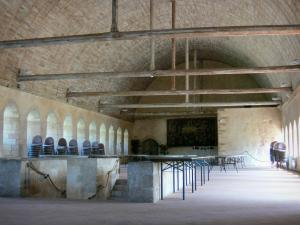 L'Épau abbey - Old Cistercian abbey of La Piété-Dieu, in Yvré-l'Évêque: dormitory and wooden vault