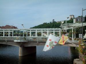 Épinal - Bridge spanning the River Moselle, flags, flowers and buildings of the city in background