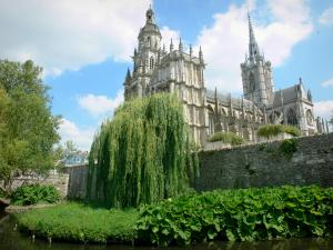 Évreux - Notre-Dame cathedral of Gothic style, trees along River Iton