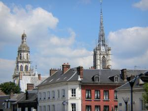 Évreux - Towers of the Notre-Dame cathedral and buildings of the town