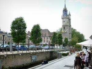 Évreux - Clock tower (beffroi) of Flamboyant Gothic style overlooking the Iton promenade (River Iton)