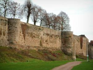 Falaise - Trees, castral surrounding wall, path, and lawns