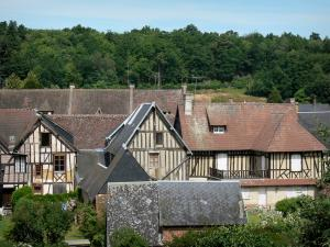 La Ferrière-sur-Risle - Roofs and facades of half-timbered houses in the village
