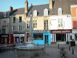 La Ferté-Bernard - Lions fountain, facades of houses and shops of the Place Carnot square
