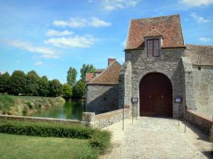 Fief Des Epoisses Stronghold   Entrance To The Old Medieval Fortified Farm,  Moats, Lawn