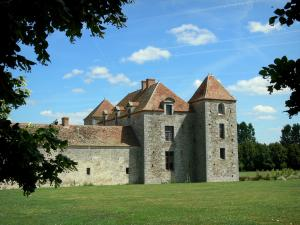 Fief Des Epoisses Stronghold   Old Medieval Fortified Farm, Lawn And Tree  Branches; In