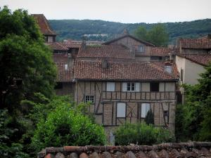 Figeac - Trees and houses of the old town, in the Quercy