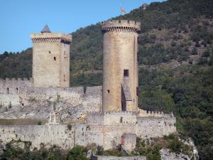 Foix - Towers of the Castle of the Counts of Foix (medieval fortress, fortified castle)