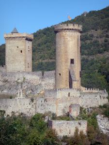 Foix - Round tower and square tower with battlements of the castle of the Counts of Foix (medieval fortress, fortified castle)