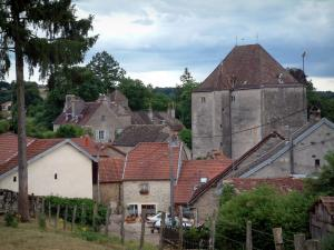 Fondremand - Keep (castle), trees and houses of the village