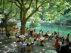 Fontaine-de-Vaucluse - Shaded café terrace (trees) with view of the River Sorgue