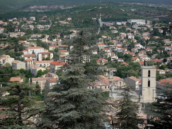Forcalquier - View of the city: tower of the Notre-Dame-du-Bourguet cathedral, houses, buildings and trees in foreground