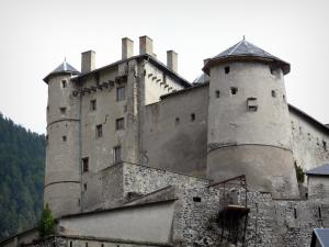 Fort Queyras - Queyras castle: towers of the medieval castle (fortress), in Château-Ville-Vieille