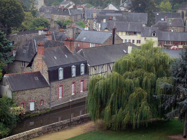 Fougères - Weeping willow tree by the River Nançon and houses of the medieval town