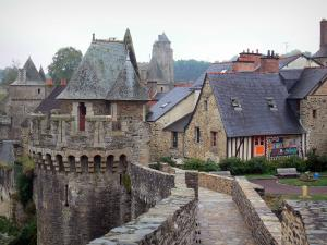 Fougères - Towers of the castle and houses of the medieval town