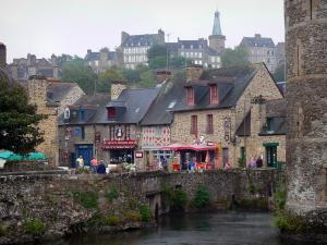 Fougères - Moats of the castle and stone houses, bell tower and houses of the upper town