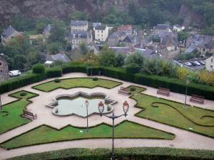 Fougères - Public garden and houses of the medieval town
