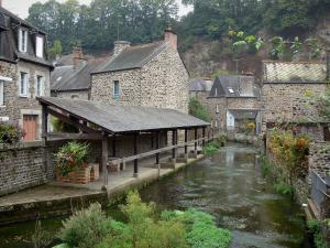 Fougères - Old lavoir (communal laundry washing place) by the River Nançon and stone houses of the medieval town