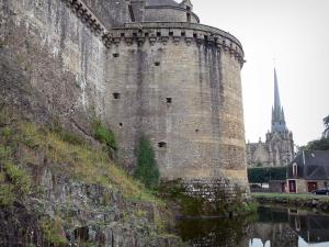 Fougères - Fortified surrounding wall (ramparts) of the castle, moats and bell tower of the Saint-Sulpice church