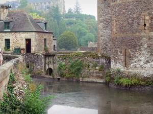 Fougères - Moats of the castle and a stone house