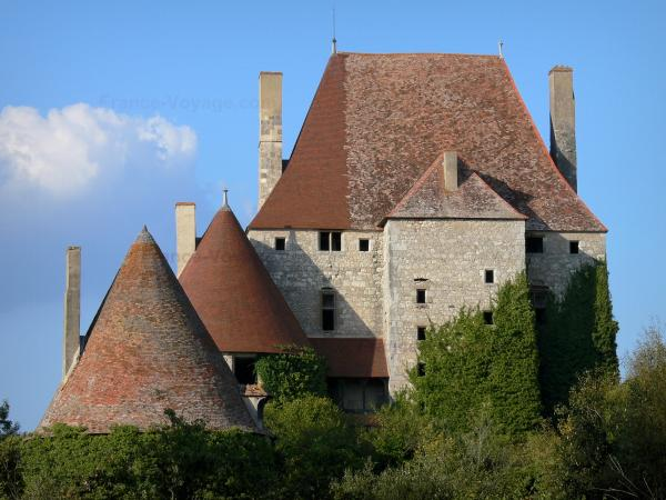 Fourchaud castle - Keep and towers of the medieval fortress; in the town of Besson, in the Bourbonnais countryside