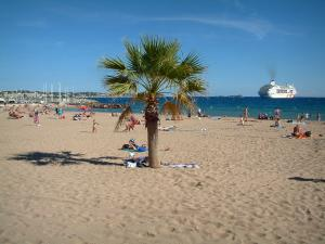 Fréjus - Fréjus-Plage: sandy beach with tourists and palm tree, the Mediterranean Sea and a cruise boat