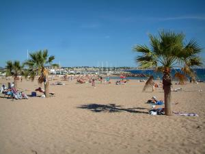 Fréjus - Fréjus-Plage: sandy beach with tourists and palm trees, the Mediterranean Sea and boats in the port