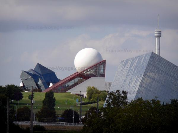 Futuroscope theme park - Buildings in the futuristic architecture: Omnimax in foreground, Futuroscope pavilion (white sphere and glass prism), and Kinemax in background