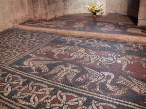 Ganagobie monastery - Inside of the church of the Benedictine convent: medieval mosaics (Romanic mosaic)