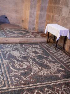 Ganagobie monastery - Inside of the church of the Benedictine convent: medieval mosaics (Romanesque mosaic)