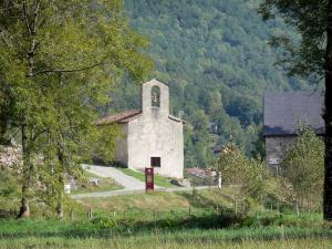 Garbet valley - Saint-Pierre d'Ercé chapel, meadows, trees and forest; in the Ariège Pyrenees Regional Nature Park, in Le Couserans area