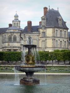 Gardens of the Palace of Fontainebleau - Fountain and flowerbeds of the French-style formal garden, alley of linden trees and Palace of Fontainebleau dominating the set