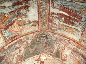 Gargilesse-Dampierre - Inside Notre-Dame Romanesque church: frescoes in the crypt