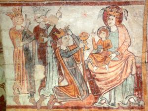 Gargilesse-Dampierre - Inside Notre-Dame Romanesque church: fresco in the crypt