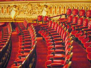 Garnier opera - Red seats in the pit of the theater