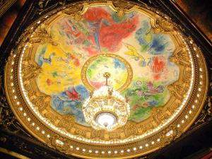 Garnier opera - Ceiling of the auditorium painted by Marc Chagall