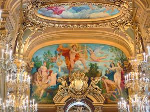 Garnier opera - Paintings, gilding and chandeliers of the great hall