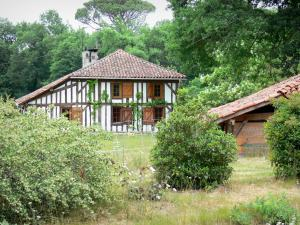 Gascon Landes Regional Nature Park - Half-timbered house surrounded by trees