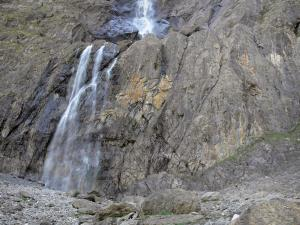 Gavarnie cirque - Great waterfall and rock cliff of the cirque; in the Pyrenees National Park