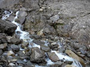 Gavarnie cirque - Water flowing among rocks; in the Pyrenees National Park