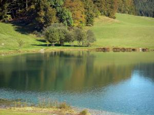 Genin lake - Lake surrounded by meadows and trees, in the Jura mountain range (Upper Bugey), in the towns of Charix, Échallon and Oyonnax