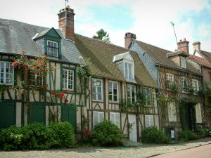 Gerberoy - Half-timbered houses with climbing rosebushes (roses) and shrubs