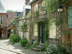 Gerberoy - Half-timbered houses with climbing rosebushes (roses), flowers and shrubs