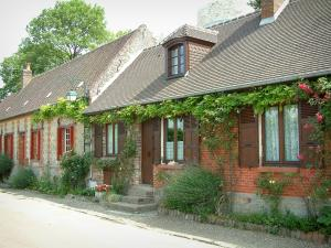 Gerberoy - Brick and stone houses with lavender, flowers, rosebushes (roses), wisterias and plants