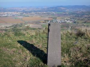 Gergovie plateau - Commemorative stone, view of the city of Clermont-Ferrand and the Limagne area; in La Roche-Blanche